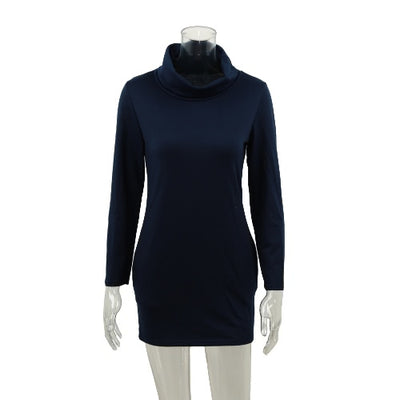 Fashion Turtleneck Pocket Design Long Sleeve Solid Mini Sweater Dress for Women