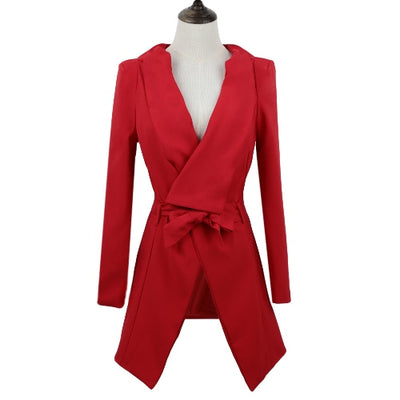 Fashion Asymmetric Turn-down Collar Long Sleeve Strap Coat Blazer for Women