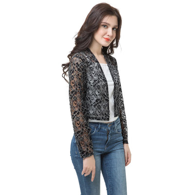 Anself Chic Lace Long Sleeve Sheer Short Black Sunscreen Coat for Women