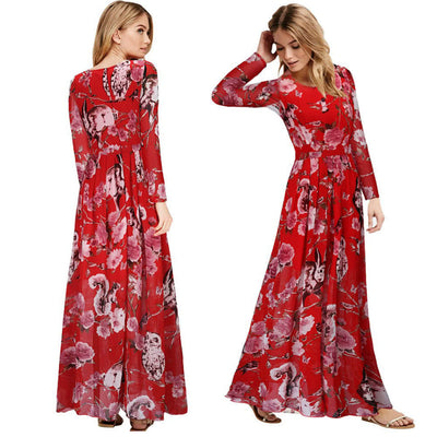 Fashion Women Long Dress Bohemian Maxi Dress Floor Length Dress O-Neck Long Sleeve Yellow/Blue/Red