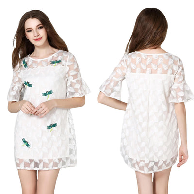 Fashion Women Mini Dress Dragonfly Feather Embroidery O-Neck Flare Sleeves Sheer Dress White