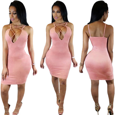 New Sexy Women Mini Bodycon Dress Lace Up Plunge V-Neck Sleeveless Party Club Sundress Khaki/Pink/Yellow