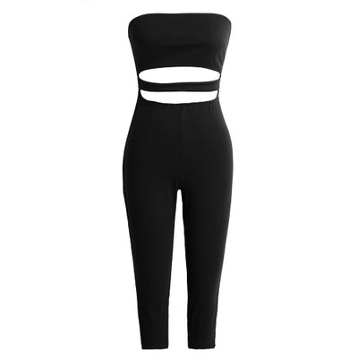 Black Sexy Strapless Backless Cut Out Cropped Leg Skinny Fit Women's Jumpsuit