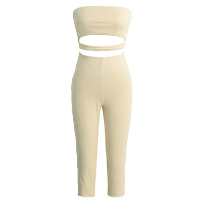 Beige Sexy Strapless Backless Cut Out Cropped Leg Skinny Fit Women's Jumpsuit