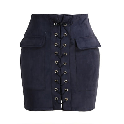 Fashion Women Lace Up Suede Leather Skirt High Waist Vintage Pocket Preppy Bodycon Short Pencil Skirt