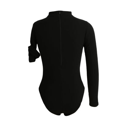 Black Sexy Women Jumpsuit Ribbed Solid Color V-Neck Long Sleeves Zipper Beach Bodysuit Rompers
