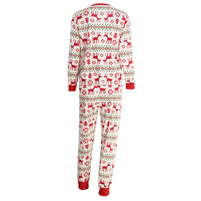 Christmas Family Women Pajamas Sets Deer Snow Printed Long Sleeve Top Trousers Sleepwear Nightwear Outfits White