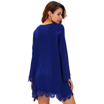 Fashion Women Loose Dress Crochet Lace Trim Sexy Scoop Neck Long Sleeve Mini Swing Dress Royal Blue/Black