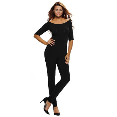Fashion Women Jumpsuit Solid Slash Neck Three Quarter Sleeve Slim Night Club Sexy Rompers Black