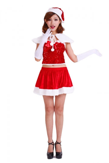 Cute Red Miss Santa Costume Womens Christmas Dress Costume