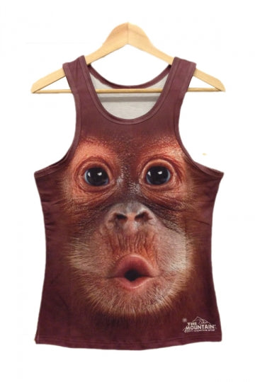 Brown Monkey Face Print Tank Top