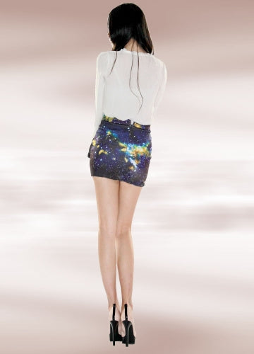 Dark Blue Galaxy Pencil Skirt