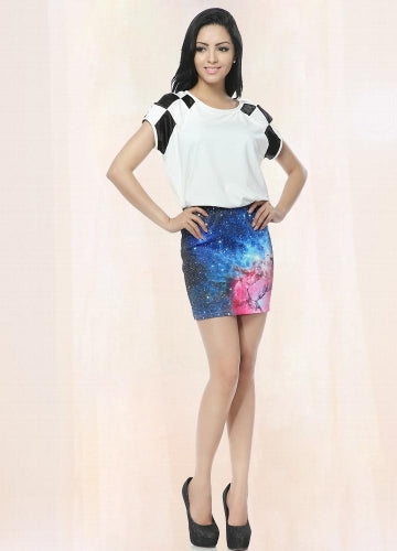 Blue Starry Galaxy Pencil Skirt