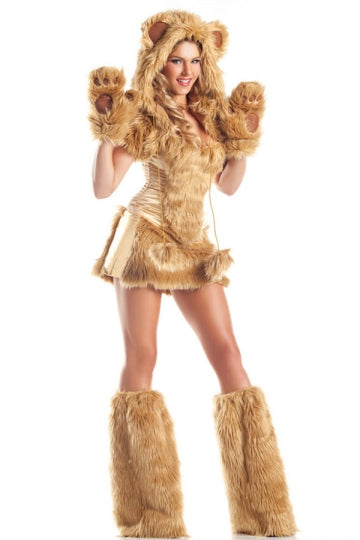 Womens Sexy Furry Bear Adult Halloween Costume Yellow