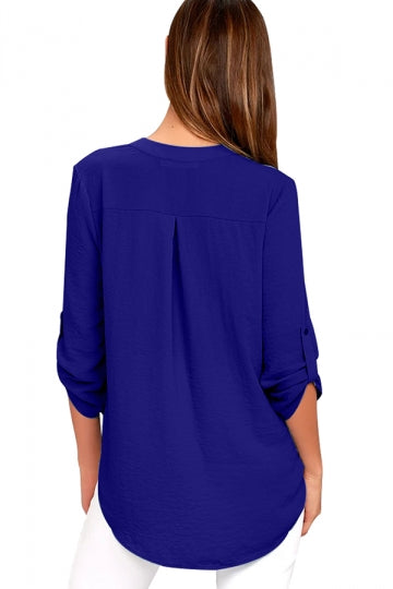 4 Length Button-Up Sleeve High Low Blouse Sapphire Blue
