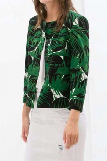 Green Fashion Womens Palm Leaf Print Round Neck Blazer