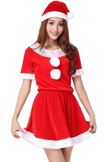 Red Sexy Ladies Christmas Party Short Sleeve Pleuche Santa Costume