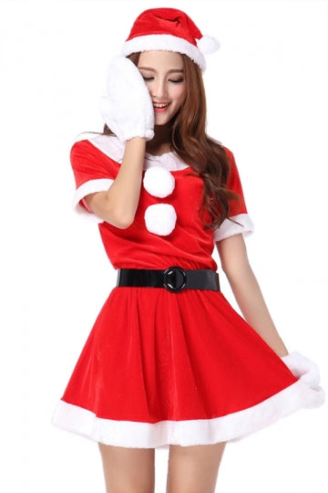 Red Fashion Ladies Short Sleeve Pleuche Christmas Santa Costume
