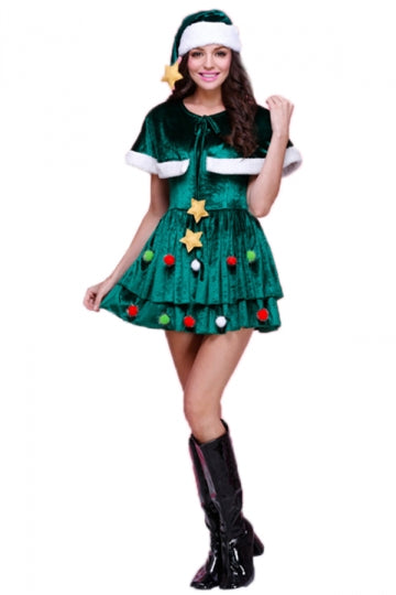 Green Sexy Womens Shawl Elf Christmas Tree Santa Helper Costume