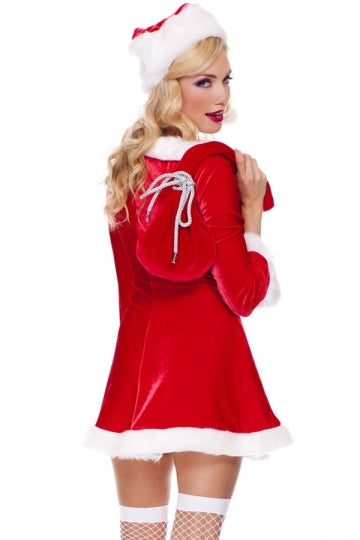Sexy Womens Crew Neck Christmas Long Sleeve Pleuche Santa Costume