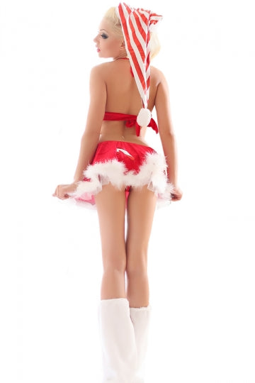 Red Ladies Christmas Skirt Halter Strip Flannel Santa Costume