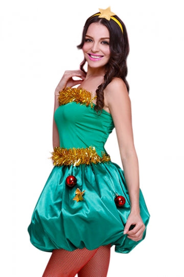 Green Cute Ladies Christmas Tree Elf Tube Santa Helper Costume