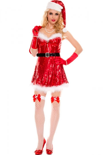 Red Womens Christmas Sequin Fur Dress with Gift Bag Santa Costume