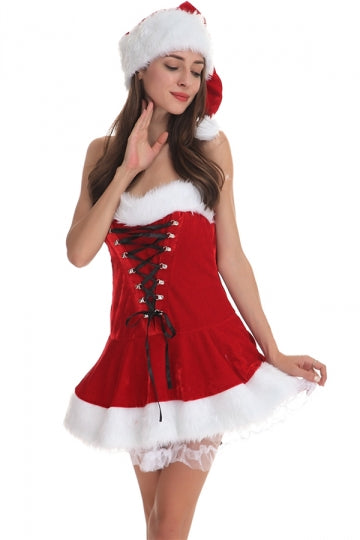 Sexy Lace-up Front and Back Santa Costume Womens.