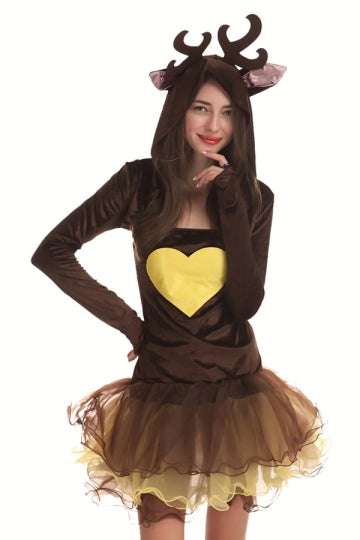 Womens Cute Long Sleeve Hooded Reindeer Christmas Costume Brown