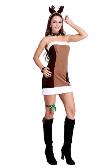 Womens Pretty Off Shoulder Reindeer Christmas Costume Chestnut