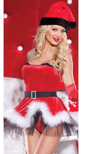 Womens Sexy Halter Christmas Party Costume Red