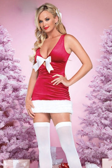 Womens Sexy Bow Back Lace Up Sleeveless Christmas Costume Rose Red