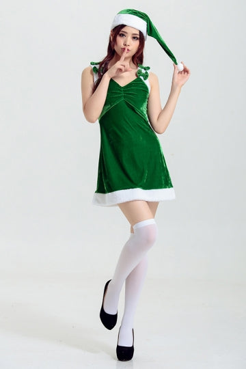 Womens Sexy Ruched Bow Decor Christmas Costume Green