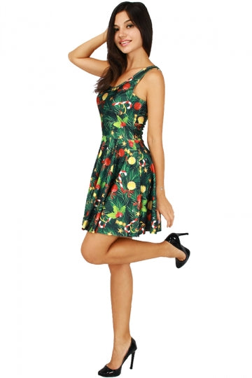 Womens Christmas Candy Tree Printed Sleeveless Skater Dress Green