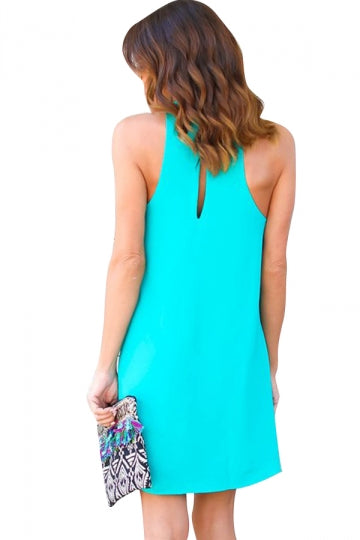 Women Plain Halter Sleeveless Cut Out Smock Dress Turquoise