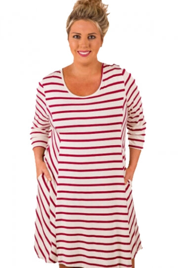 Plus Size White Stripes Relaxed Curvy Dress Ruby