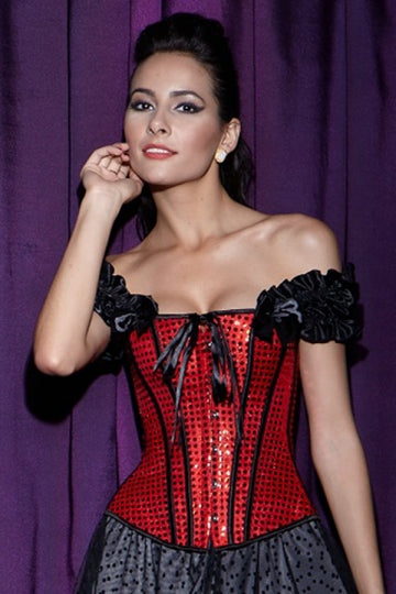 Chic Womens Ruffle String Sequin Over Bust Corset