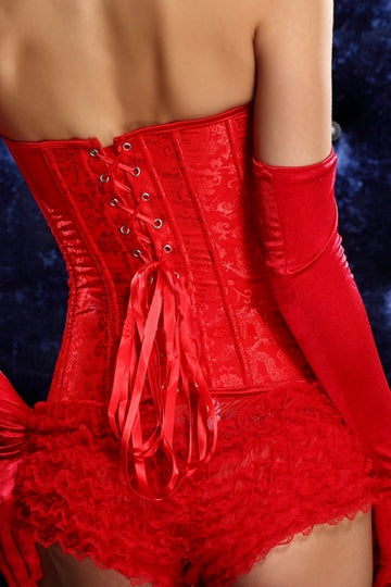 Red Comfortable Womens Lingerie Lace Up Steel Buckle Over Bust Corset