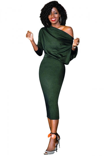 4 Sleeve Bodycon Midi Dress Army Green