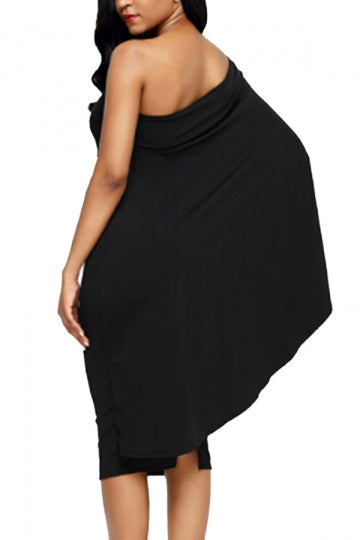Women Cape Dress One Shoulder Sheath Evening Dress Black