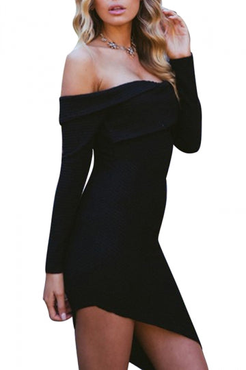 Ladies Long Sleeve Evening Party Off Shoulder Bodycon Dress Black