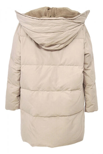 Beige Patchwork Warm Winter Hooded Womens Long Quilted Coat