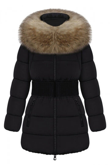 Black Pretty Ladies Fur Collar Color Block Quilted Long Coat