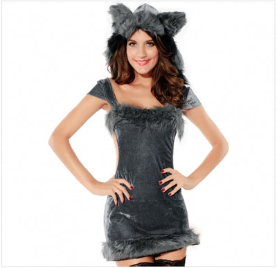 Gray Charming Girls Naughty Halloween Raccoon Costume