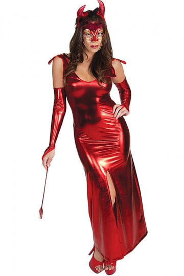 Red Metallic Sexy Womens Devil Halloween Costume