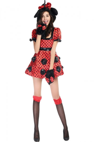 Womens Cute Cosplay Mickey Halloween Cartoon Costume Red