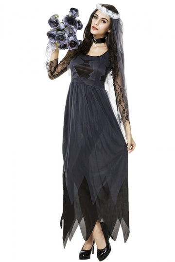 Womens Lace Zombie Bride Halloween Costume Black
