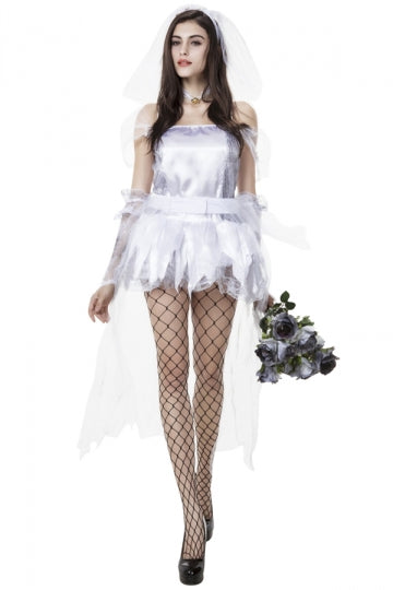 Womens Adult Sexy Halloween Bride Costume White