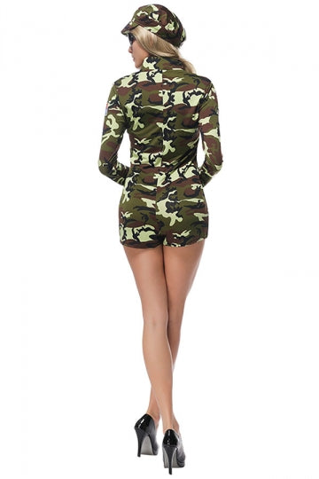 Womens Zipper Front Military Camouflage Halloween Costume Army Green