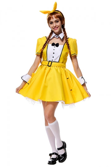 Womens Bow Short Sleeve Bunny Halloween Dress Costume Yellow